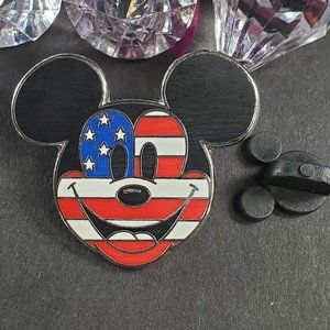 4/$25 Disney Parks American Flag Mickey Face Pin